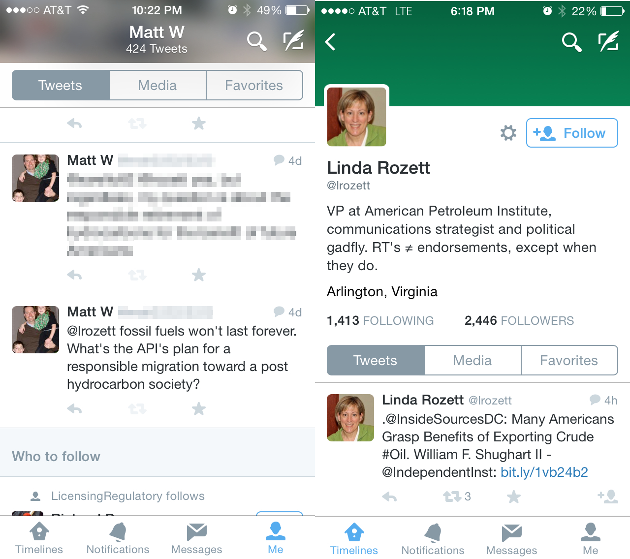 """I was following Linda Rozette on Twitter. My only communication with her was to ask the question you see on the left. Rather than provide an answer, Linda went through a procedure to knock me off her followers list. Notice it does not say """"Following"""" in the upper right hand side of her Twitter profile anymore."""