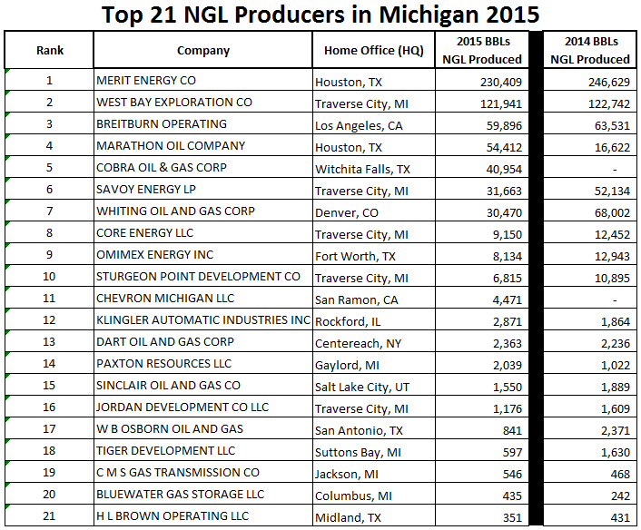 All 21 NGL producers in Michigan in 2015 sorted by barrels produced. Click image to enlarge.