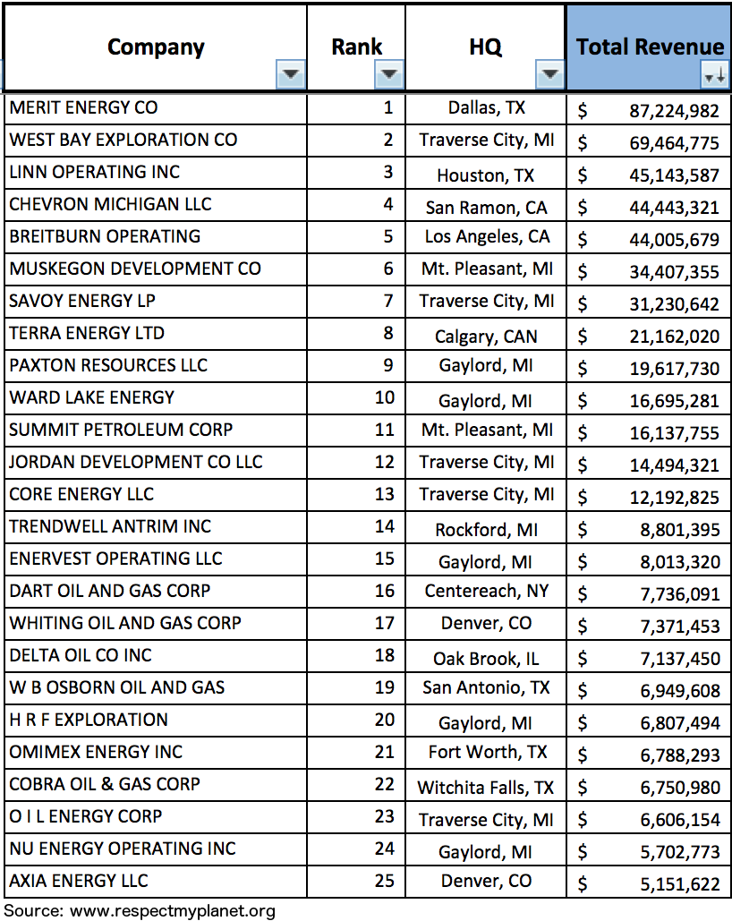 Top 25 hydrocarbon producers in Michigan in 2015 by money ranking only. Click image to enlarge.