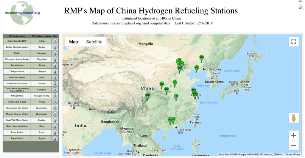 China Map Hydrogen Refueling Stations