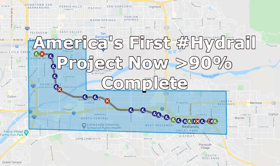 Redlands Passenger Rail Project Update – America's 1st Hydrail >90% Complete